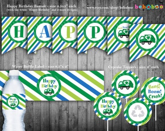 Garbage Truck Birthday Party Package/Garbage Truck Party Package/Birthday Party/Garbage Truck Printable/Truck Party/Printable/Invitation DIY