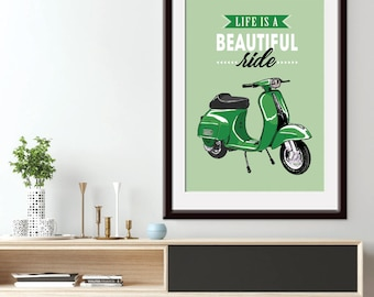 Life is Beautiful Ride (Mid-Century Vespa) Art Print (Featured in Green) Bike Art Print