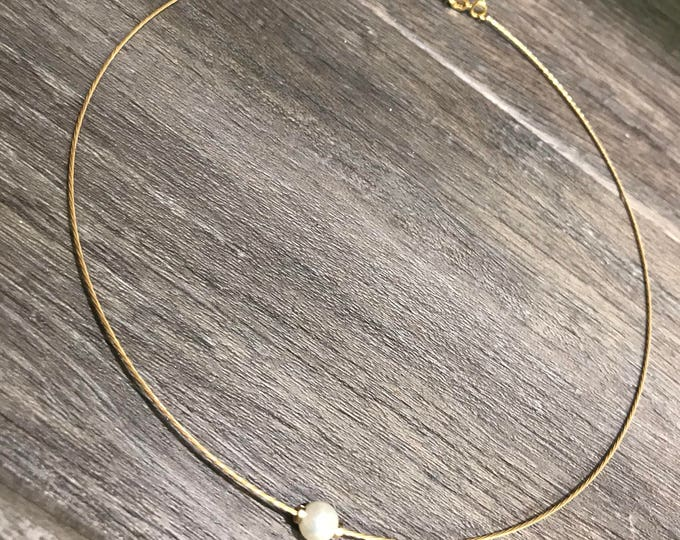 Solo Pearl Choker in 14k Gold