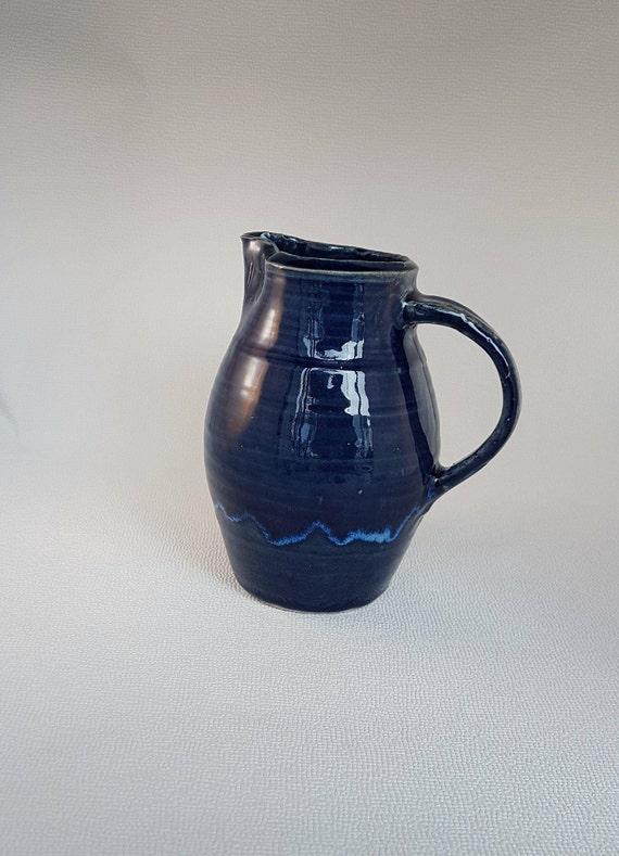 Hand thrown traditional Blue Cider Jug, handmade in Devon