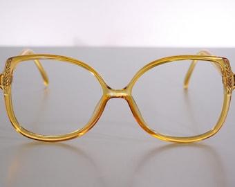 Optyl SAPHIRA 4116-40 German Honey Orange Amber Vintage Oversize Butterfly Eyeglass Frames NOS Old Stock New Unused 56 15 130
