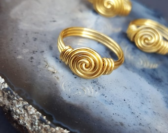 Love Knot Ring, Wire Wrapped Jewelry, Wire Wrapped Ring, Custom Jewellery, Rose Bud Ring, Brass Jewelry, Brass Rings, Handmade Wired Jewelry