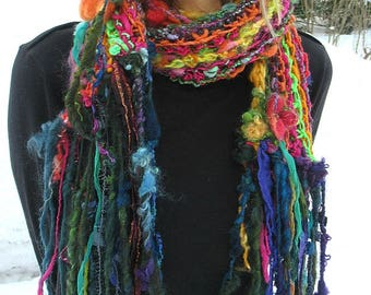 hand knit scarf long handspun art yarn scarf patchwork boho rainbow scarf - forest gypsy flower color story scarf