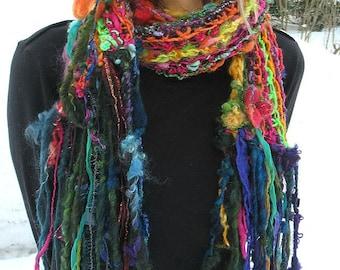 Handgestrickte Schal lang handgesponnene Kunst Garn Patchwork Boho Regenbogen Schal - Wald-Zigeuner-Blume-Farbe-Geschichte-Schal