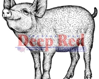 Deep Red Rubber Stamp Farm Piglet Wilbur Zuckerman's Fameous Pig Barnyard Animal