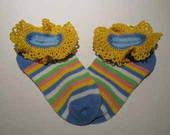 Hand Crocheted Lace edged Anklet's, ankle socks,  Denim blue with white, green, yellow and pink stripe, sock size 4 to 6