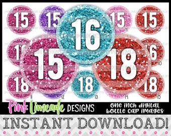 """Glitter Birthday/Anniversary Milestones - Colorful - version 3 - INSTANT DOWNLOAD 1"""" Bottle Cap Images 4x6 - 1032"""