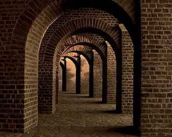 Photograph Print of Old German Cellar with Brick Archways