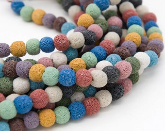 10mm  Lava Rock Beads,   15 inch  Strand,  Lava beads, Mixed Colors -B2280