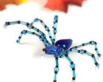 Beaded Wire Spider Hand Crafted in Blue and Black