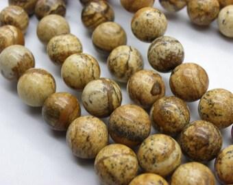 38 Jasper, 10 mm beautiful beige caramel camel jaspe round