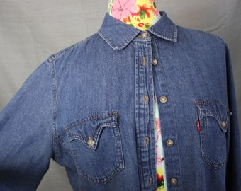 "Levi's Red Tab Western Style Chambray Denim Shirt 100% Cotton Womens XL Volup 40"" Waist Cowgirl Street Style"