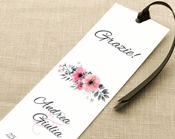 Wedding placeholder. Bookmark Thanksgiving Wedding. Elegant placeholder with pink and grey flowers, with ribbon or without.
