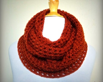 """Scarf """"Talitha"""" in Rust (OR Choose Color) infinity scarf / cowl -- chunky, fashion accessories - vegan friendly"""