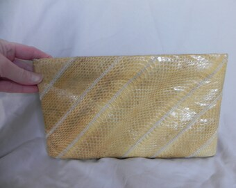1960's or 1970's Yellow Gold Snakeskin Clutch Purse by Ronay