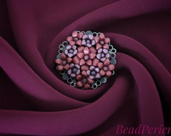 Vintage-Style Polymer Clay Necklace Blossom/Flower rosé/pink
