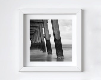 Coastal pier wall art - Black and white photography - Tybee Island - Ocean beach print - Girlfriend photo gift - Large square art - 12x12