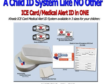 Special Needs Child ID & Medical Alert ICE (In Case of Emergency) Card Insole - Size Large- Toddler 13 thru Child 8