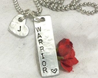 Warrior hand stamped presonalized with initial great support gift for woman, man, mother, brother, sister, friend,