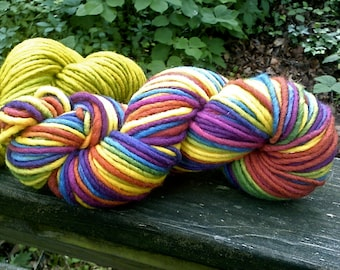 Cheerful Rainbow--Bulky Single Ply Skein--4 Ounces--100 Yards--Finger Chain Knit--Plant Dyed