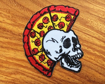 Skull Mohawk Punk Rock Pizza Biker Embroidered Applique Iron on Patch.