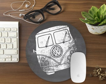 Mouse pad, Mousepad VW Mouse Mat Mouse Pad Office Mousemat Van chalk board Mousepad Round Black and white VINTAGE car man gift - T80988
