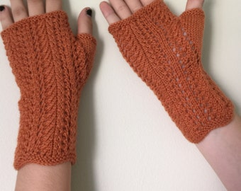 Hand knit fingerless gloves. orange fingerless gloves, lace texting gloves, wool fingerless gloves.