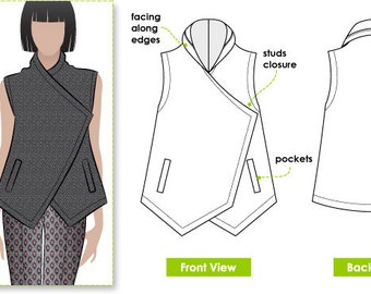 Sewing Pattern - Lizzie Wrap - Sizes 16, 18 & 20 - Women's Vest PDF sewing pattern by Style Arc