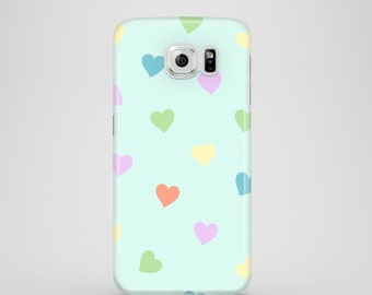 Pastel Hearts Samsung Galaxy S7 case / Pastel Samsung Galaxy S7 case / ladies Samsung Galaxy S6 case / iPhone X / iPhone 8 / iPhone 7