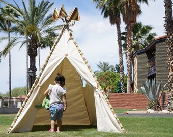 XL/XXL Doodle  teepee, 8ft kids Teepee, large tipi, Play tent, wigwam or playhouse with canvas