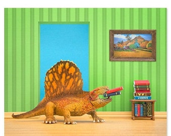 35% OFF SALE Dinosaur decor wall art: Omnivorous Reader