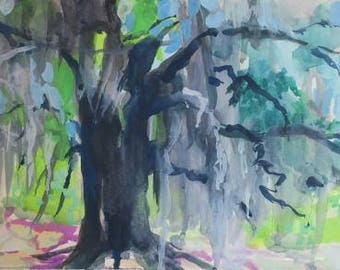South Carolina, watercolor painting, gouache painting, angel oaks, landscape, low country, impressionism, impressionistic, moss, Southern