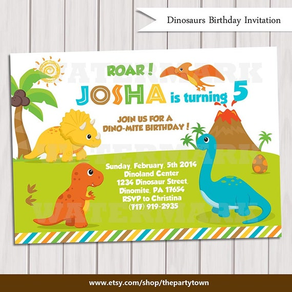 Dinosaur Birthday Invitation Dinosaur Invitation Printable