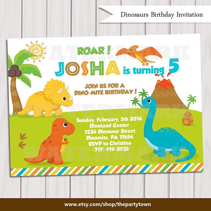 Dinosaur Birthday Invitation / Dinosaur Invitation Printable /