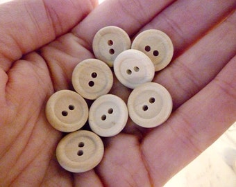 Round Wooden Buttons, Half Inch Wood Buttons, Pack of 50