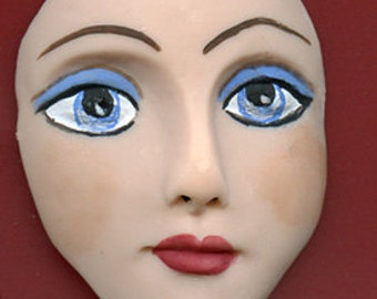"Polymer Clay  Detailed  2 "" Art Doll Face Cab with Blue Eyes BLF 1"