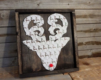 Rudolph the Red Nose Reindeer... wood cutout and sign ... Christmas decor