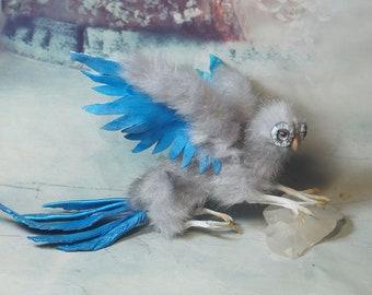 Full Poseable gray  dragon-owl OOAK original Fantasy Soft Sculpture Art Doll