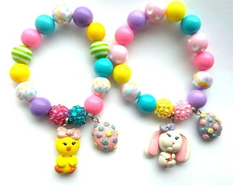 Easter jewelry, Easter bunny, cute chick Easter bracelets