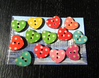 13 buttons wooden polka hearts multicoloured small model