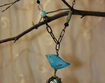 Bluebird and nest necklace
