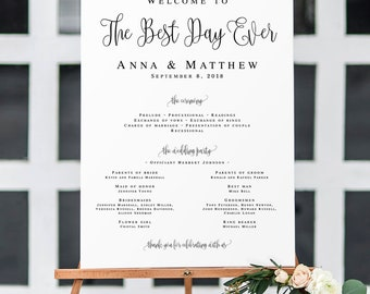 Welcome to the best day ever wedding sign Large wedding program sign Wedding templates Best day ever wedding program DIY program sign #vm41