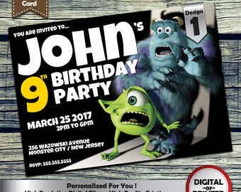 Monsters Inc. birthday invitation - personalized printable invite for any age girls or boys birthday party - includes free thank you card