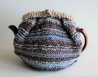 Striped tea cosy / pure wool / blue, purple, pink / medium size