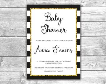DIGITAL FILE - Baby Shower Invitation - Invite - Black, White and Gold, Printable, BWG002