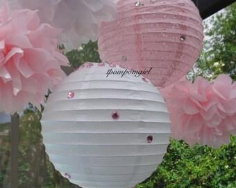 SIMPLY IRRESISTABLE / 3 tissue paper pom poms/2 paper lanterns / Wedding, Reception, Bridal Shower, Baby Shower, Birthday, Nursery