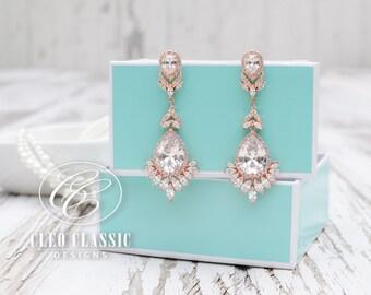 Bridal Jewelry Crystal Zircon Dangle Earrings Bridesmaid Drop Rose Gold Bridal Earrings Prom Earrings