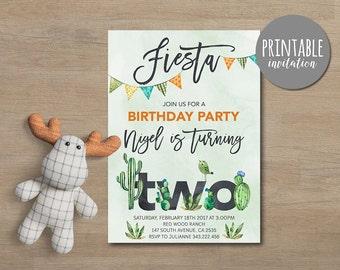 Fiesta Birthday Invitation Boy, First Birthday Invitation, Mexican Birthday Invitation, Boho Printable Birthday Invitation 2nd Birthday