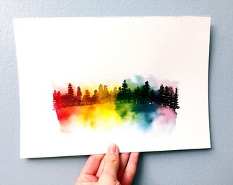Rainbow forest | Watercolor forest | Custom quote