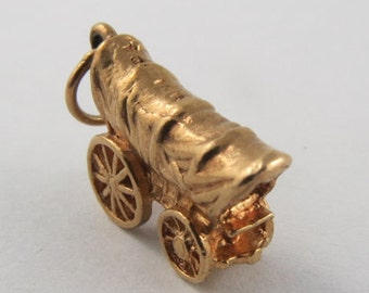 Covered Wagon 10K Gold Vintage Charm For Bracelet